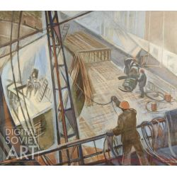 "Constructing the Hydro-Electrical Plant. Set design for the film ""The Only Way"", Mosfilm – Эскиз к к/ф  ""Иначе нельзя"""