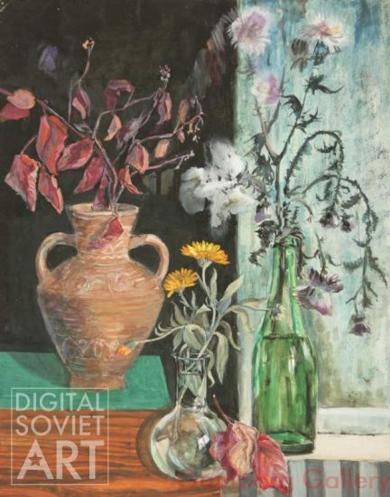 Still Life with Flowers in Jugs and Bottle – Без названия