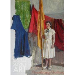 Woman in White With Banner – Без названия