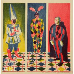 Three Clowns - Pulcinella, Arlecchino's (Harlequin), and a Clown. Triptykh – Три клоуна. Триптих