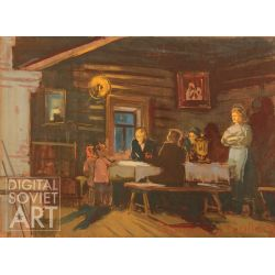 "Lenin Visiting in the Cottage. Set Design for the Film ""The Kremlin Chiming Clocks"" – Кинодекорация для к/ф ""Кремлевские куранты"""