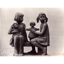 Girls on a Bench with Doll and Teddybear – Без названия