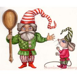 Christmas Gnome with and Mouse – Без названия