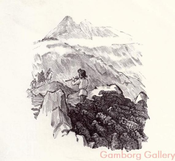 "Illustration from ""Mountains and People"", Yury Libedinsky, 1947 – Горы и люди, Юрий Либединский, 1947"
